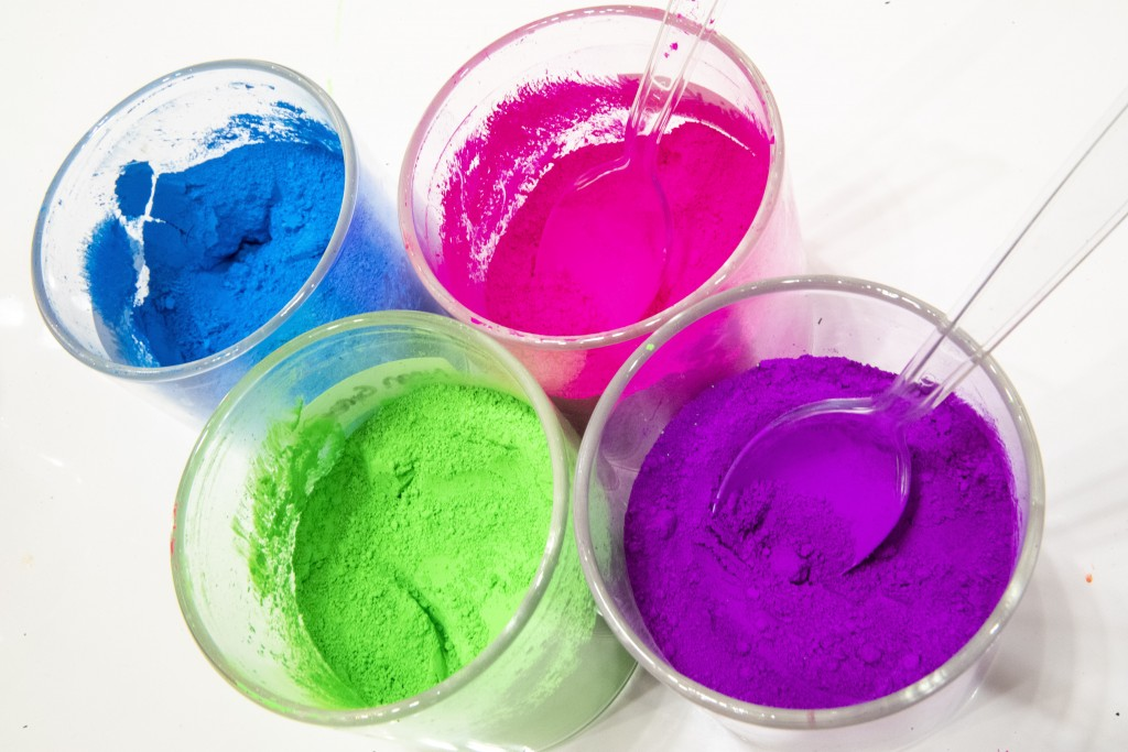 This Oct. 21, 2019, photo shows pigments available in the build a slime bar displayed during a preview of the Sloomoo Institute in New York. An immers...
