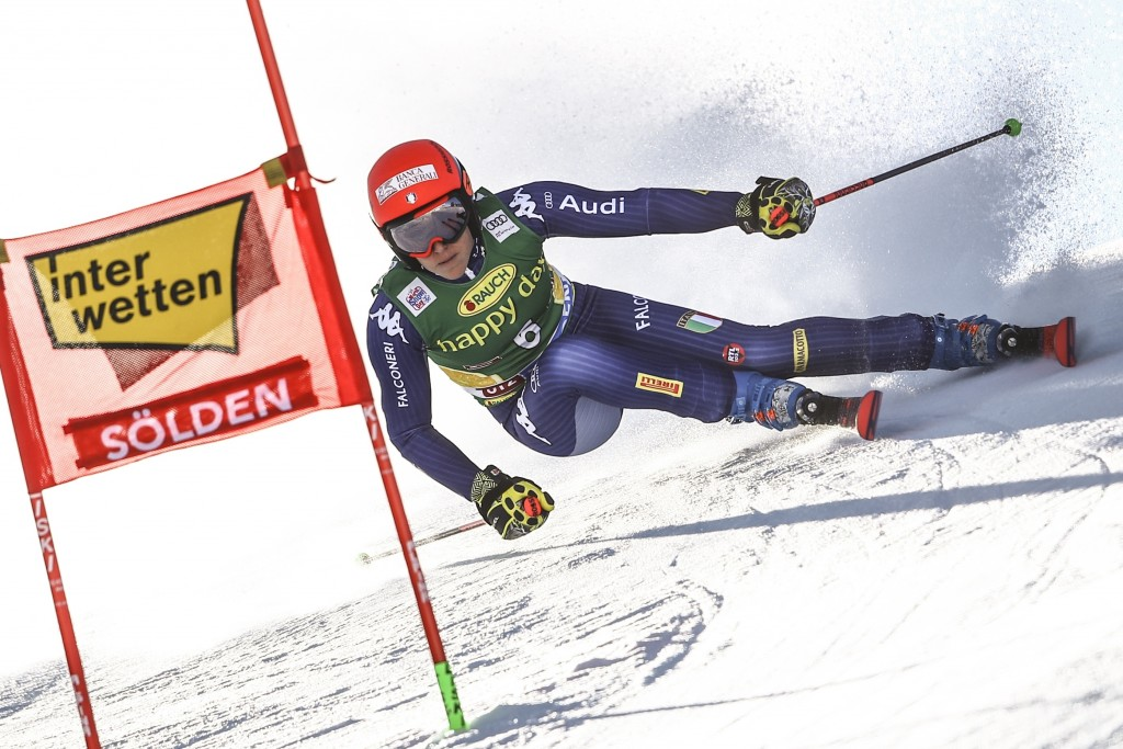 Italy's Federica Brignone competes during an alpine ski, women's World Cup giant slalom in Soelden, Austria, Saturday, Oct. 26, 2019. (AP Photo/Marco ...