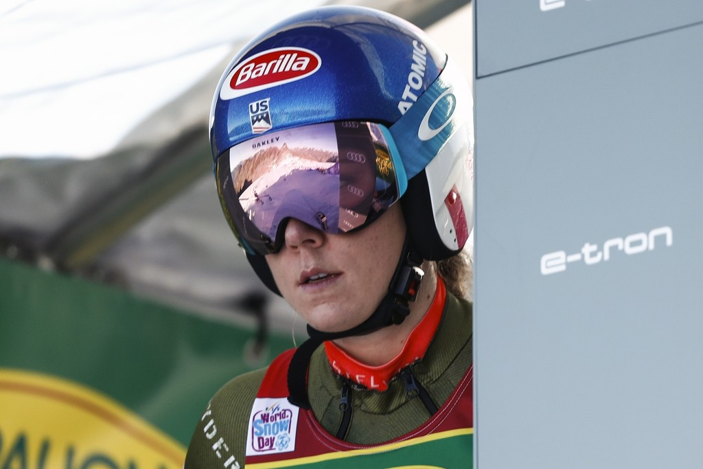 United States' Mikaela Shiffrin gets ready to start an alpine ski, women's World Cup giant slalom in Soelden, Austria, Saturday, Oct. 26, 2019. (AP Ph...