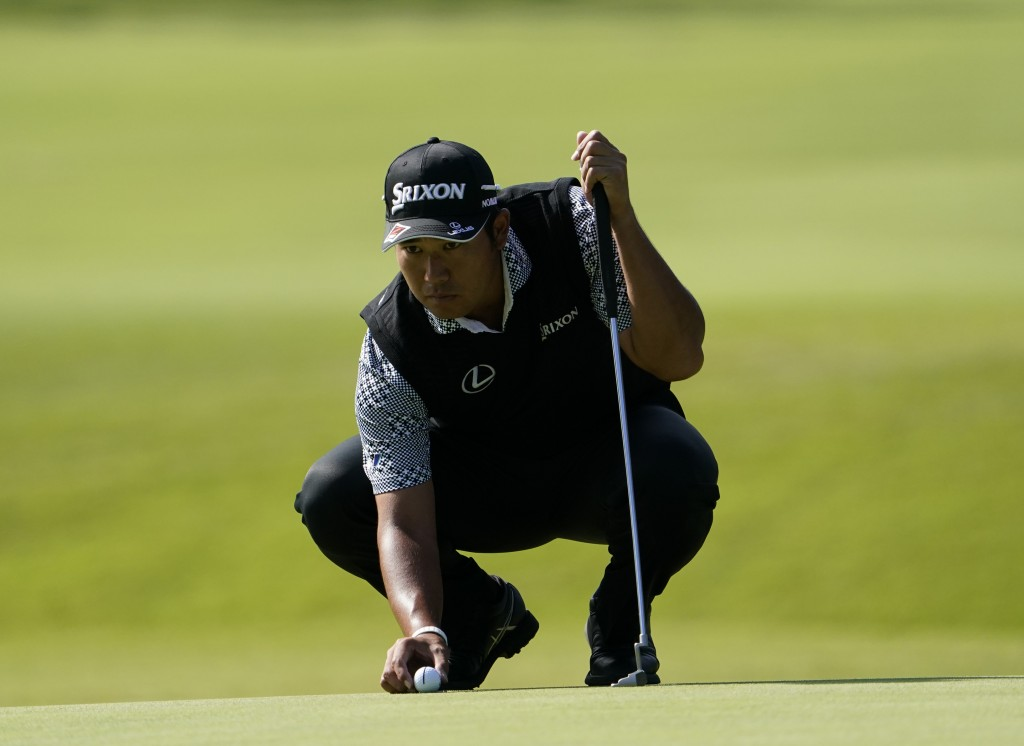 Hideki Matsuyama of Japan lines up a putt on the 11th hole during the second round of the Zozo Championship PGA Tour at the Accordia Golf Narashino co...