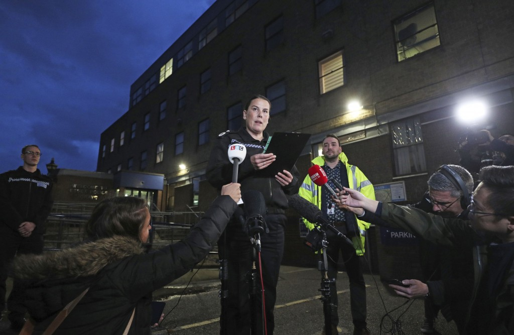 Deputy Chief Constable Pippa Mills speaks to the media during a press conference at Grays Police Station in Essex Friday, Oct. 25, 2019, after a man a...