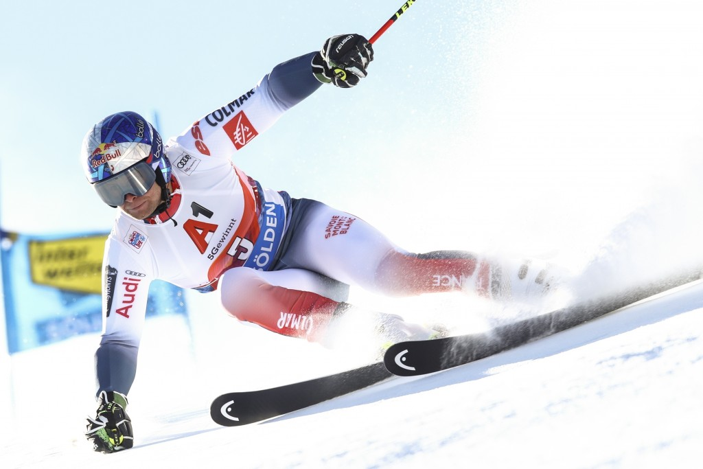 France's Alexis Pinturault speeds down the course during an alpine ski, men's World Cup giant slalom in Soelden, Austria, Sunday, Oct. 27, 2019. (AP P...