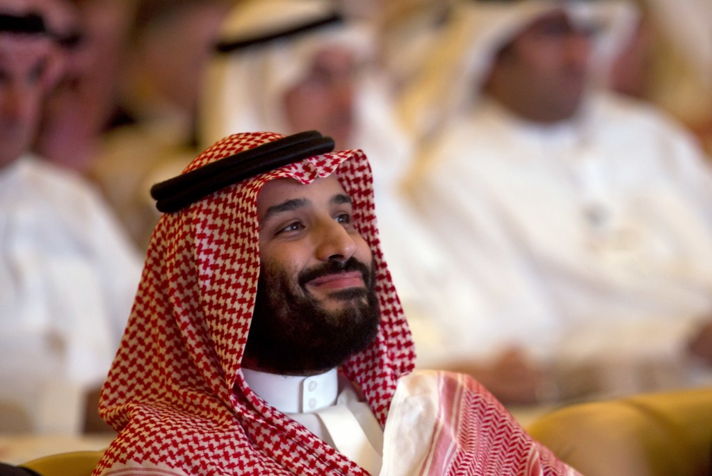 FILE - In this Oct. 23, 2018, file photo, Saudi Crown Prince Mohammed bin Salman smiles as he attends the Future Investment Initiative summit in Riyad...