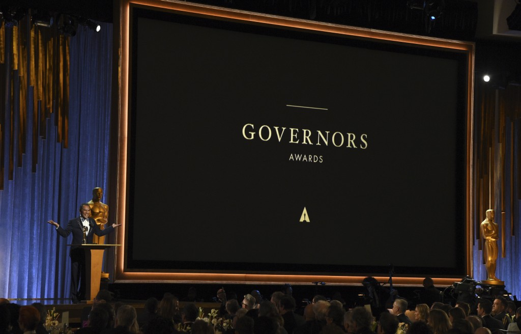 Wes Studi accepts an honorary award at the Governors Awards on Sunday, Oct. 27, 2019, at the Dolby Ballroom in Los Angeles. (Photo by Chris Pizzello/I...