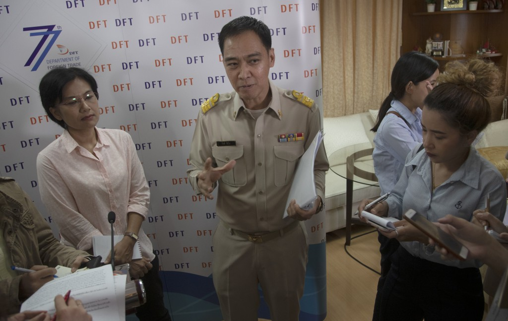 Senior Thai Commerce Ministry Keerati Rushchano talks to the media after a press conference at the Department of Foreign Trade, Ministry of Commerce, ...
