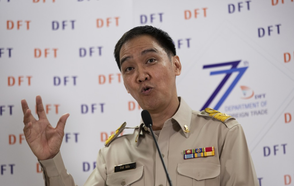 Senior Thai Commerce Ministry Keerati Rushchano talks to the media during a press conference at the Department of Foreign Trade, Ministry of Commerce,...