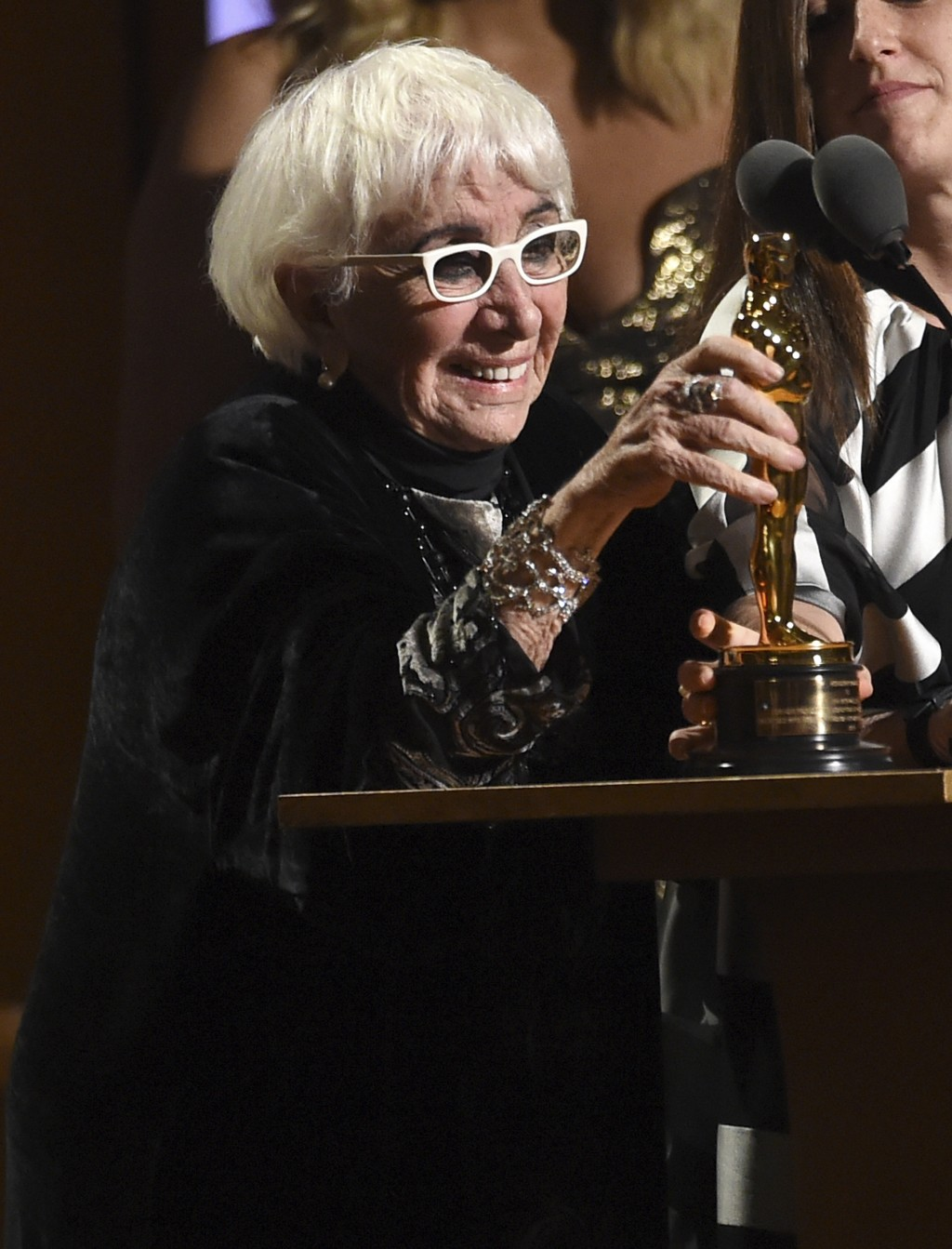 Lina Wertmuller accepts her honorary award at the Governors Awards on Sunday, Oct. 27, 2019, at the Dolby Ballroom in Los Angeles. (Photo by Chris Piz...