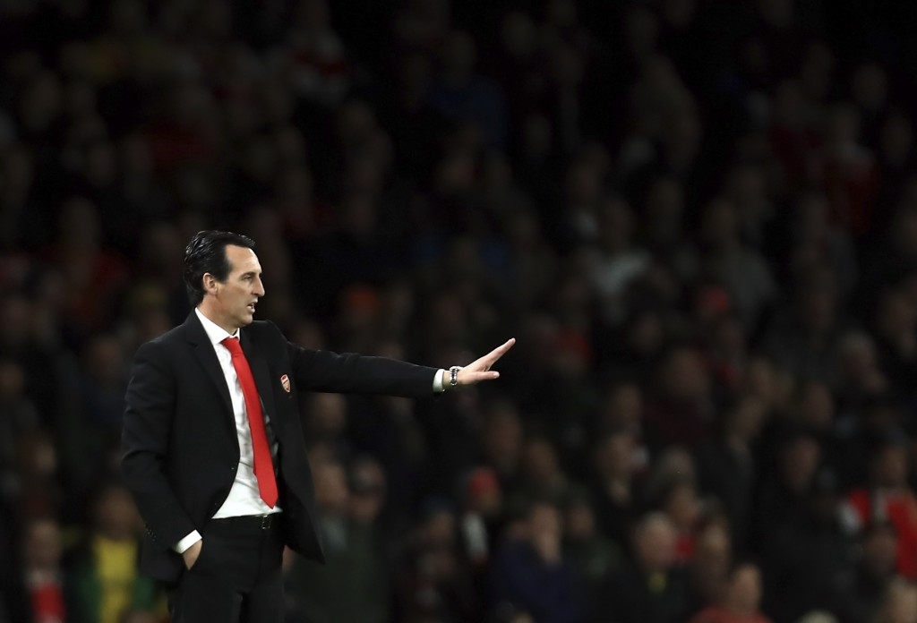 Arsenal's head coach Unai Emery gives instructions to his players during the English Premier League soccer match between Arsenal and Crystal Palace at...