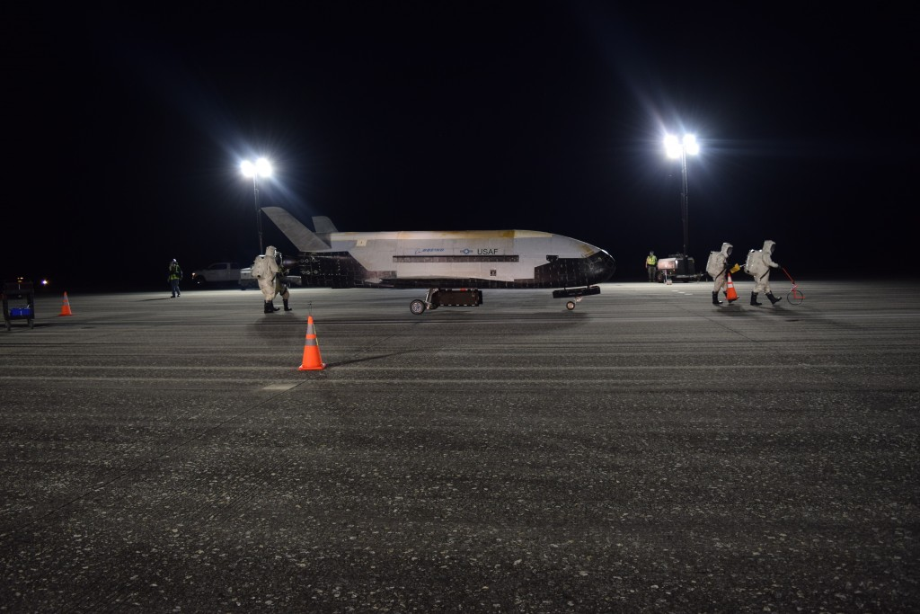 In this Oct. 27, 2019 photo released by the U.S. Air Force, the Air Force's X-37B successfully lands at NASA's Kennedy Space Center Shuttle Landing Fa...