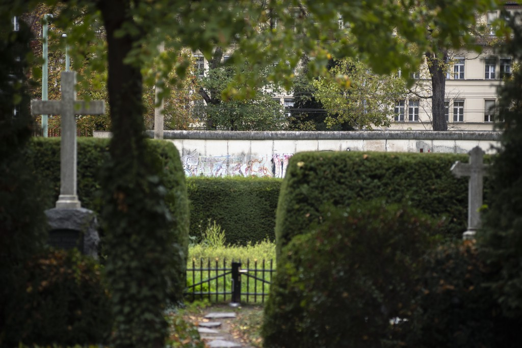This Oct. 27, 2019, photo shows the Lazarus Sisters' graveyard, which during the Cold War used to be in East Berlin and cut off from the sisters' moth...