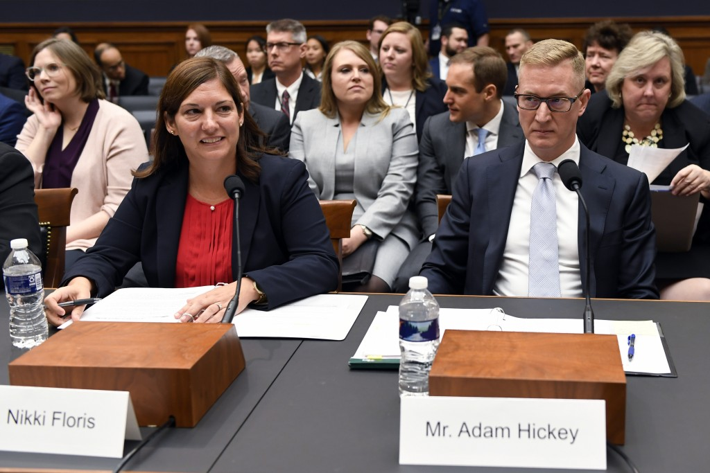 FILE - In this Oct. 22, 2019, file photo, Deputy Assistant Director for Counterterrorism at the FBI Nikki Flores, left, and Deputy Assistant Attorney ...