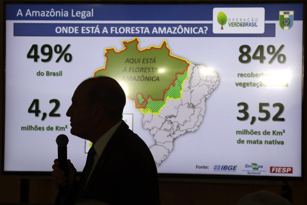 Brazil's Defense Minister Fernando Azevedo speaks during a press conference on the Defense Committee's action in response to the ongoing oil spill on ...