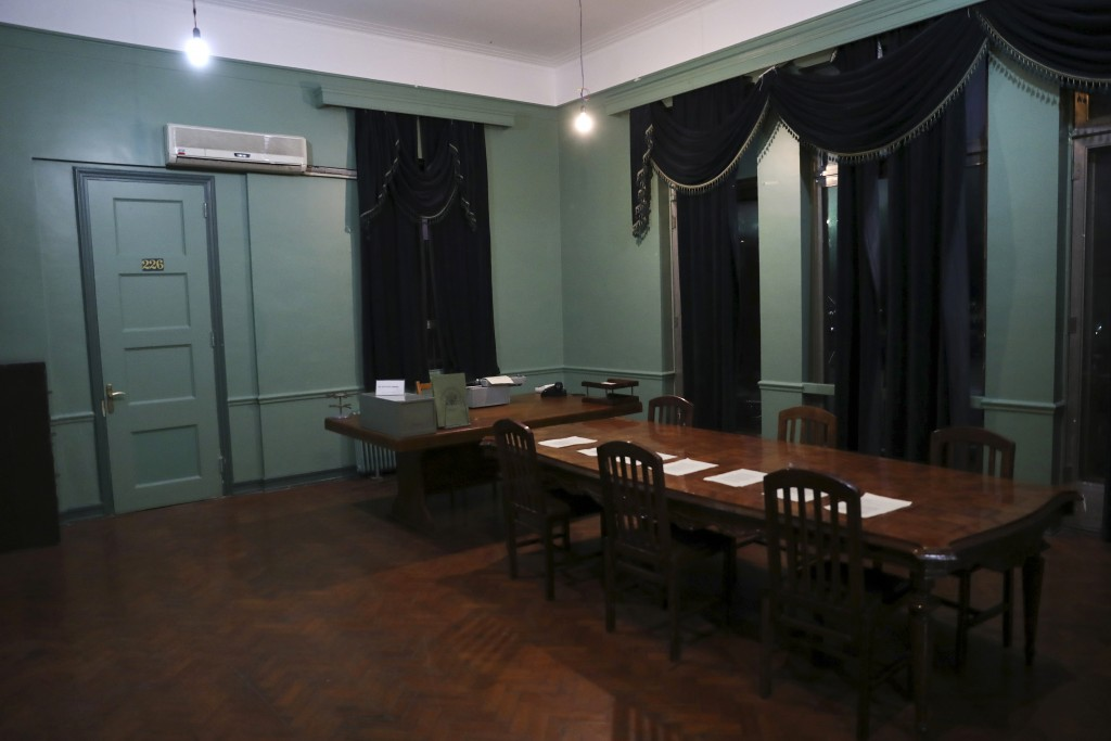 In this Sept. 26, 2019, photo, one of rooms of the former U.S. Embassy in Tehran, now partly a museum, is photographed, in Tehran, Iran. The U.S. Emba...