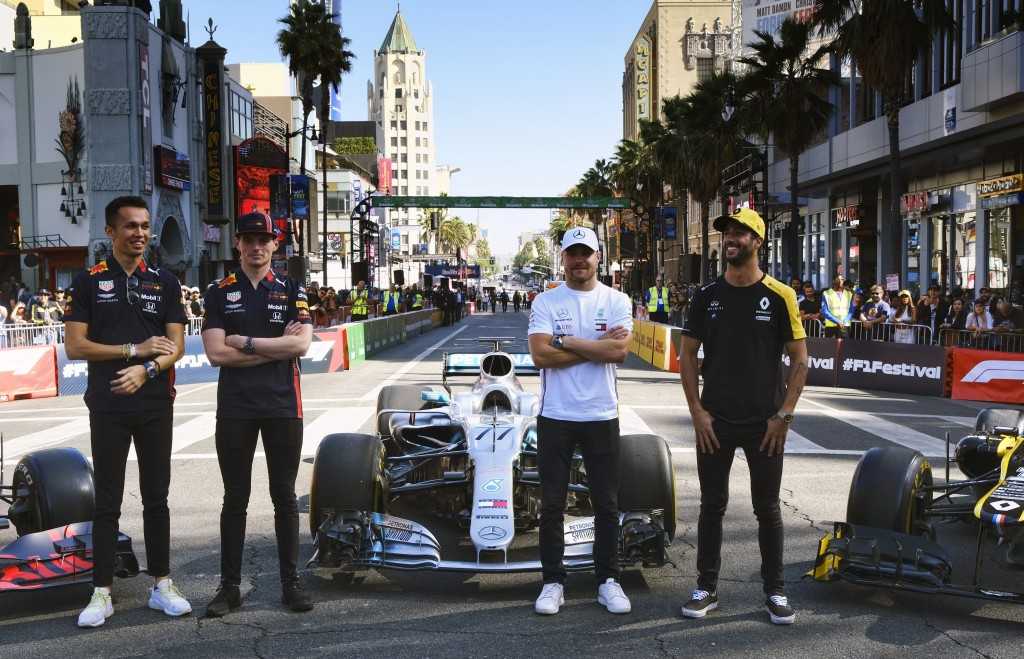 Red Bull Racing driver Alex Albon, Red Bull Racing driver Max Verstappen, Mercedes driver Valtteri Bottas and Renault F1 Team driver Daniel Ricciardo,...