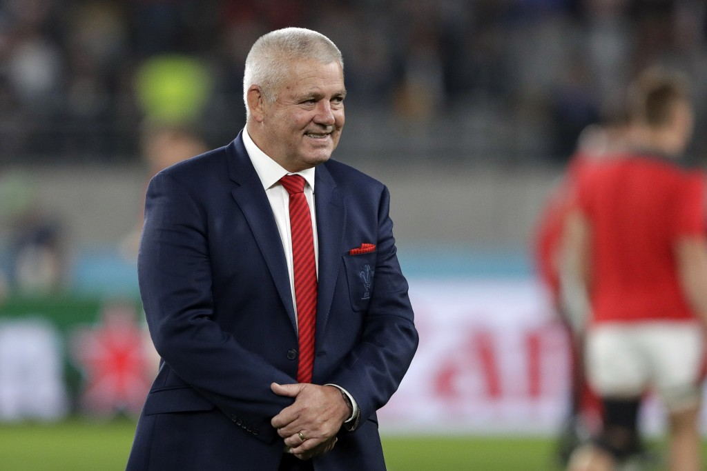 Wales coach Warren Gatland, walks on the field prior to the Rugby World Cup bronze final game at Tokyo Stadium between New Zealand and Wales in Tokyo,...