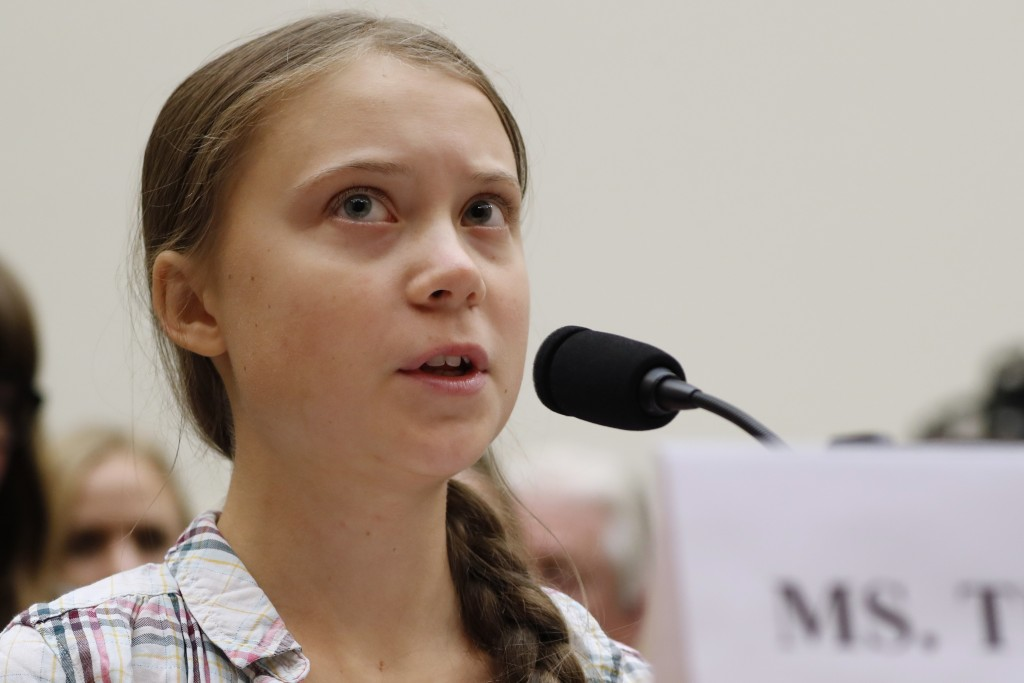 FILE - In this Wednesday, Sept. 18, 2019, file photo, youth climate change activist Greta Thunberg speaks at a House Foreign Affairs Committee subcomm...