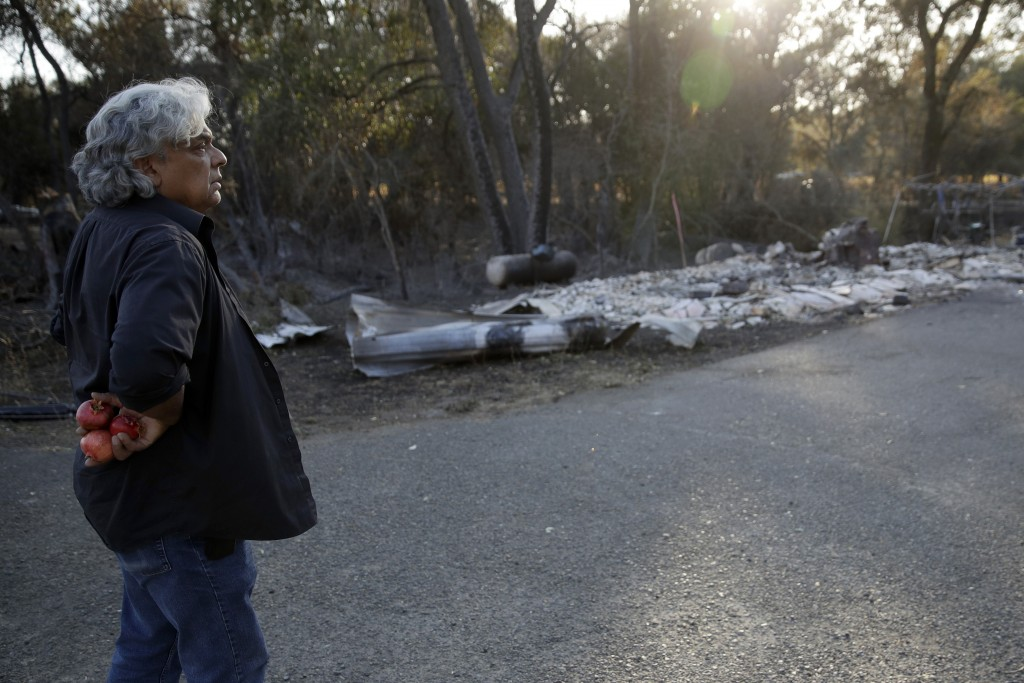 Ruane Gomes looks at a neighbor's home that was destroyed by the Kincade Fire near Geyserville, Calif., Thursday, Oct. 31, 2019. Gomes' home survived ...
