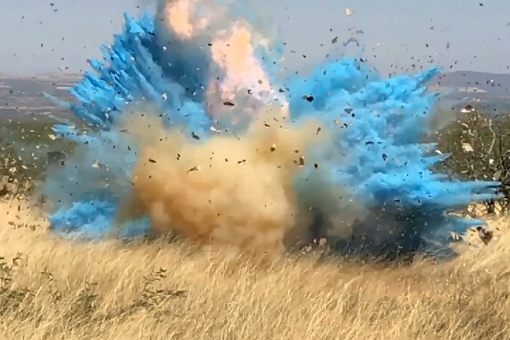 In this frame grab from a April 23, 2017, video provided by the U.S. Forest Service, is a gender reveal event in the Santa Rita Mountain's foothills, ...
