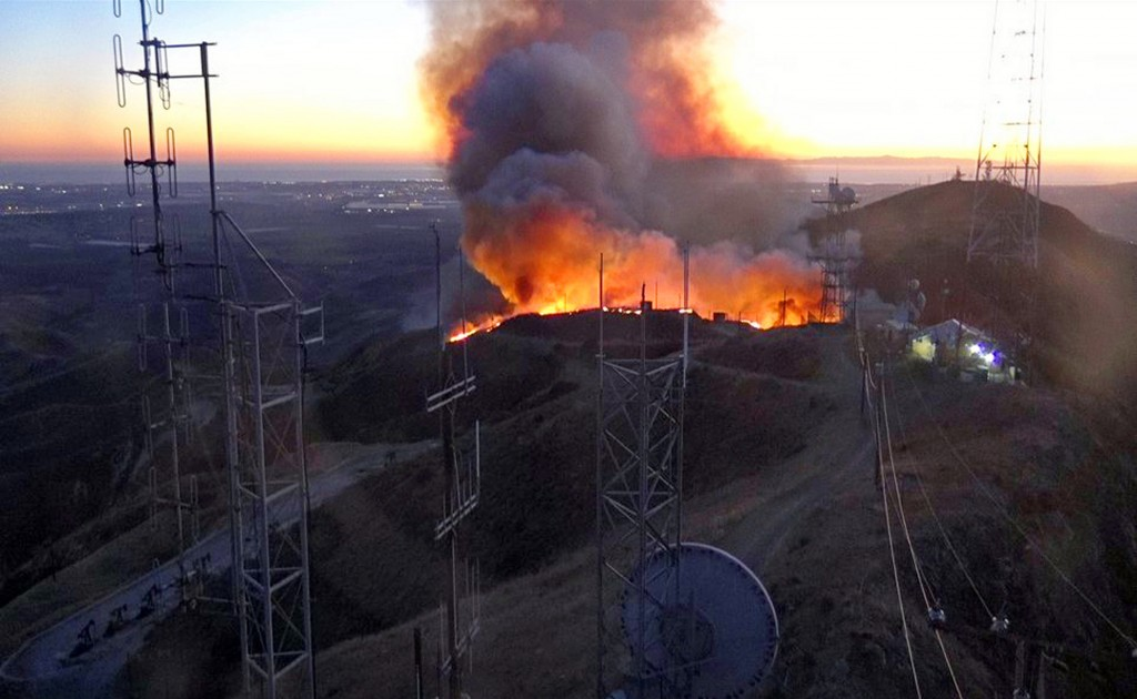 This remote-camera photo posted on the Ventura County Fire Department's Twitter page shows the beginning of the Maria fire at an antenna farm atop Sou...