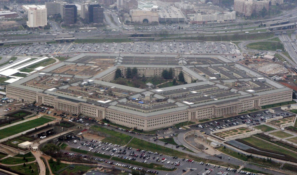FILE - In this March 27, 2008 file photo, an aerial view of the Pentagon is seen in Washington. Amazon must decide soon if it will protest the Pentago...