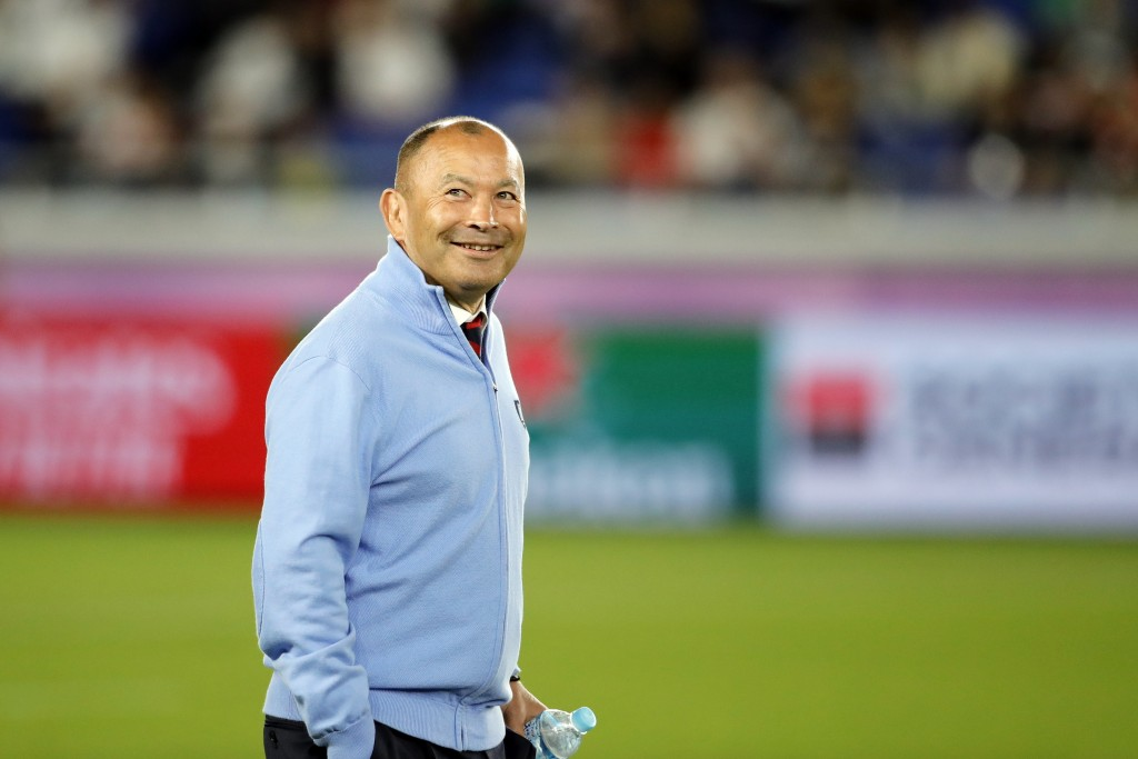 England coach Eddie Jones walks around the field before the Rugby World Cup final at International Yokohama Stadium between England and South Africa i...