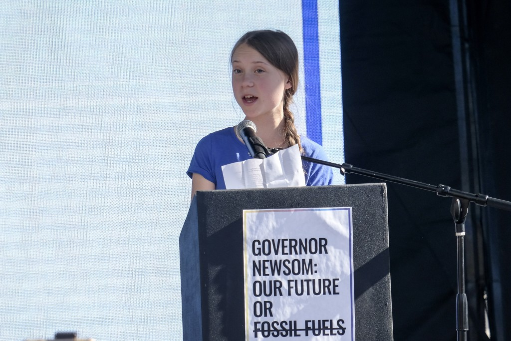 Climate change activist Greta Thunberg speaks after a climate change march in Los Angeles on Friday, Nov. 1, 2019. Thunberg says young people are rall...