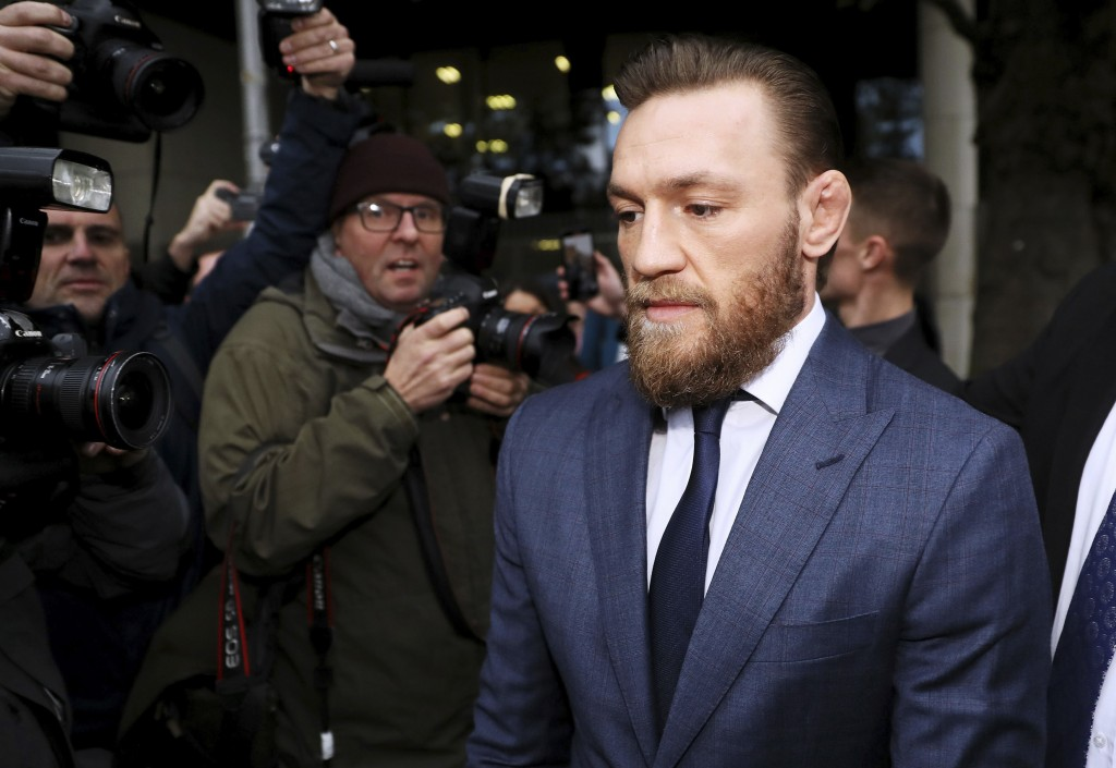 Conor McGregor leaves Dublin District Court in Dublin, Friday, Nov. 1, 2019. McGregor has been fined $1,120 for assaulting a man in a pub. The retired...