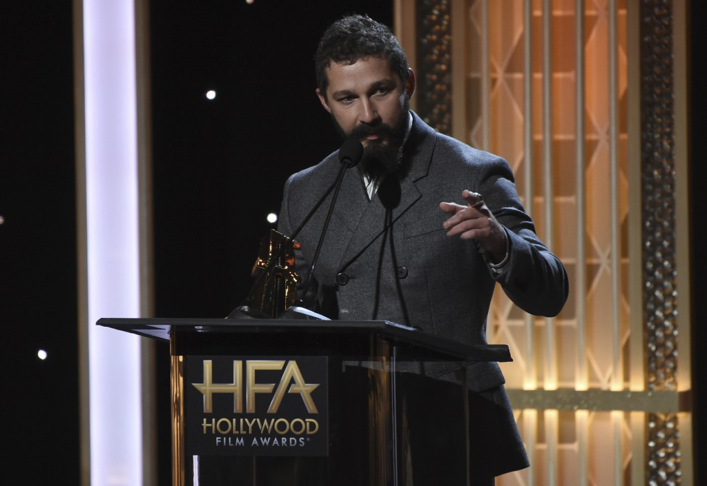 "Shia LaBeouf accepts the Hollywood breakthrough screenwriter award for ""Honey Boy"" at the 23rd annual Hollywood Film Awards on Sunday, Nov. 3, 2019, a..."