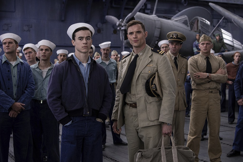 """This image released by Lionsgate shows Keean Johnson, left, and Ed Skrein in a scene from """"Midway."""" (Reiner Bajo/Lionsgate via AP)"""