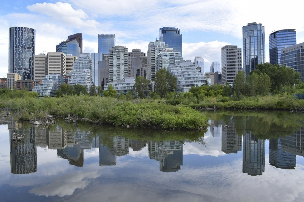 The Calgary, Alberta, Canada skyline is seen from Prince Island on July 2, 2019. A 2017 pilot study of tap water at 150 daycares in the province showe...