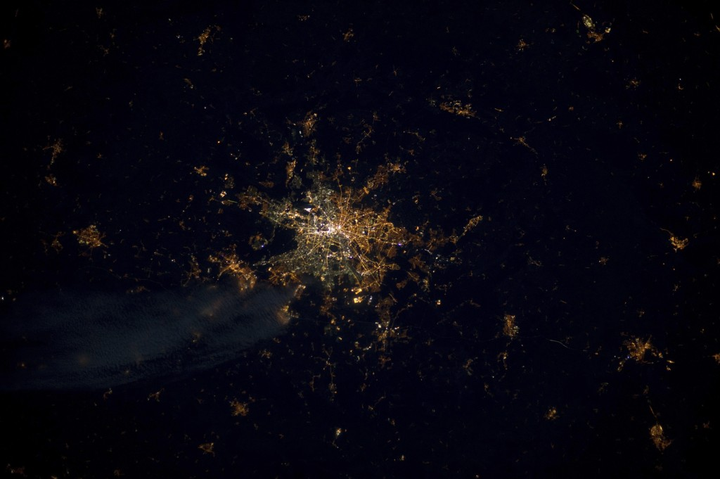 This undated photo provide by the European Space Agency and captured by ESA astronaut Andre Kuipers, shows the German capital Berlin from the Internat...