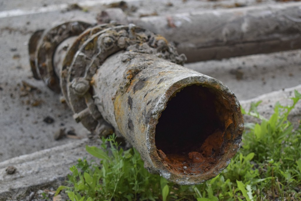 This June 19, 2019 photo shows corroded water pipes being replaced on Saint-Dominique Street in Montreal, Quebec, Canada. In Canada, where provinces _...
