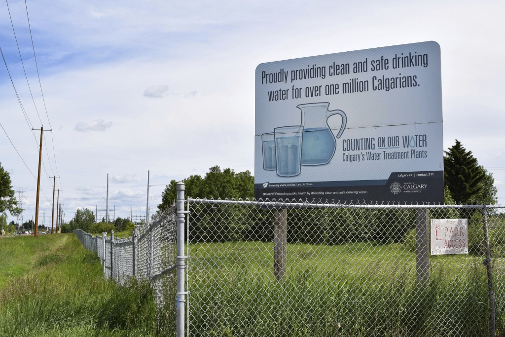 This July 2, 2019 photo shows a sign outside the Glenmore Water Treatment Plant in Calgary, Alberta, Canada. The plant sources its water from the Elbo...