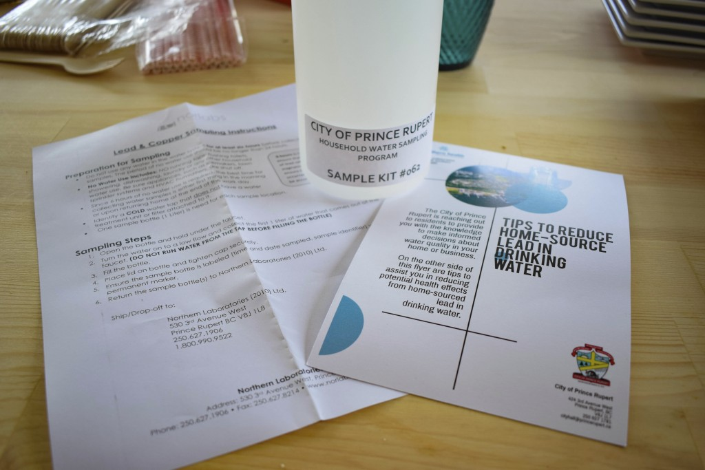 This July 19, 2019 photo shows a free drinking water sample kit from the regional healthcare provider Northern Health, received by Jessical Alexcee in...