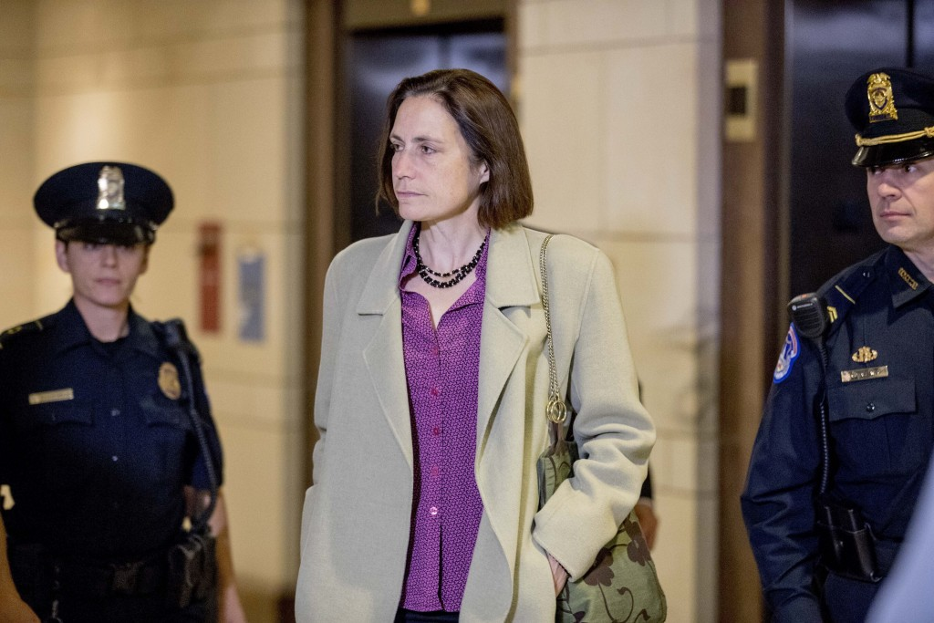Former White House advisor on Russia, Fiona Hill arrives for a closed door meeting as part of the House impeachment inquiry into President Donald Trum...