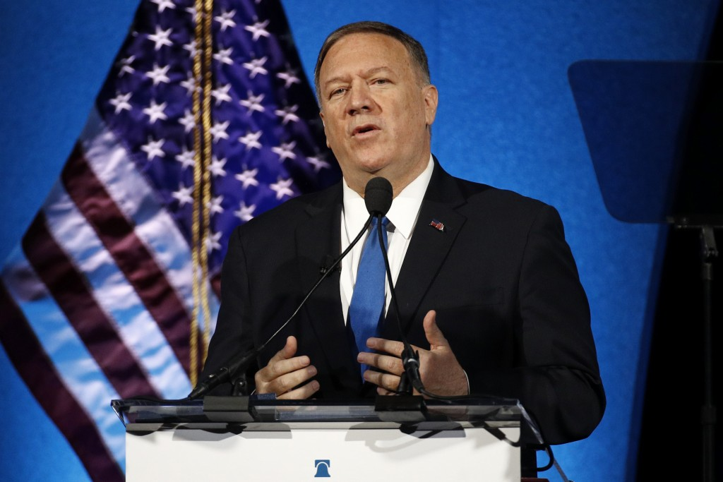 FILE - In this Oct. 22, 2019, file photo, Secretary of State Mike Pompeo speaks at the Heritage Foundation's annual President's Club Meeting in Washin...