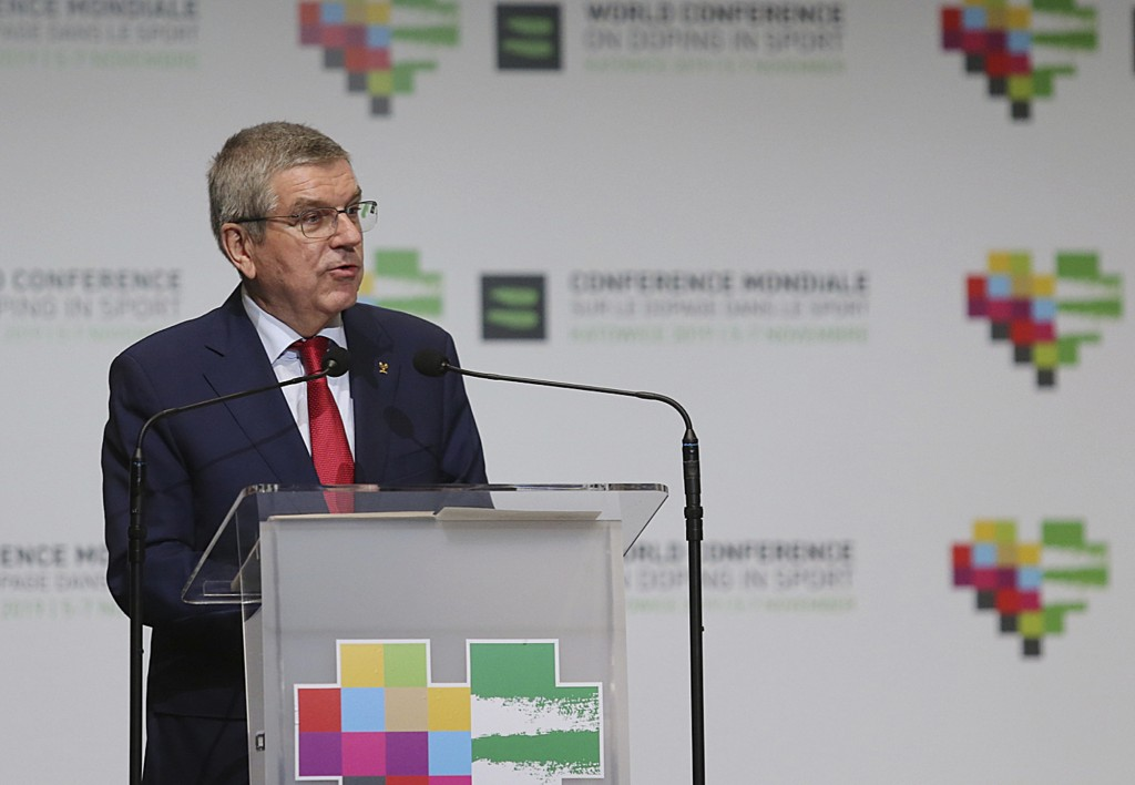 President of International Olympic Committee Thomas Bach attends the opening session of the 5th WADA (World Anti-Doping Agency) World Conference on Do...