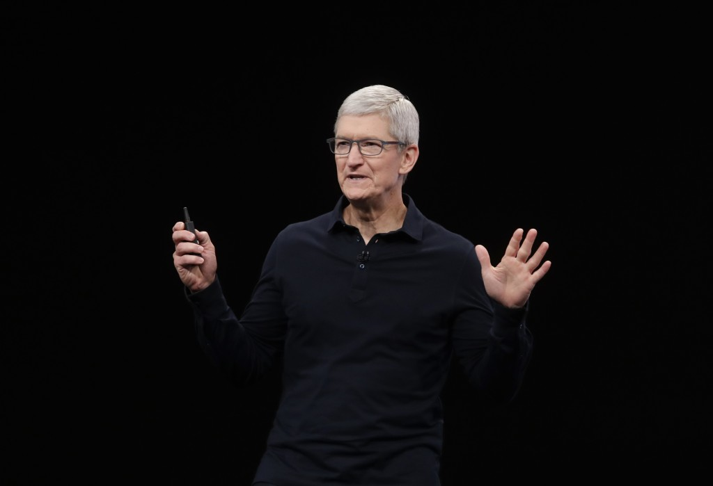 FILE - In this June 3, 2019, file photo Apple CEO Tim Cook speaks at the Apple Worldwide Developers Conference in San Jose, Calif. Apple said Monday, ...