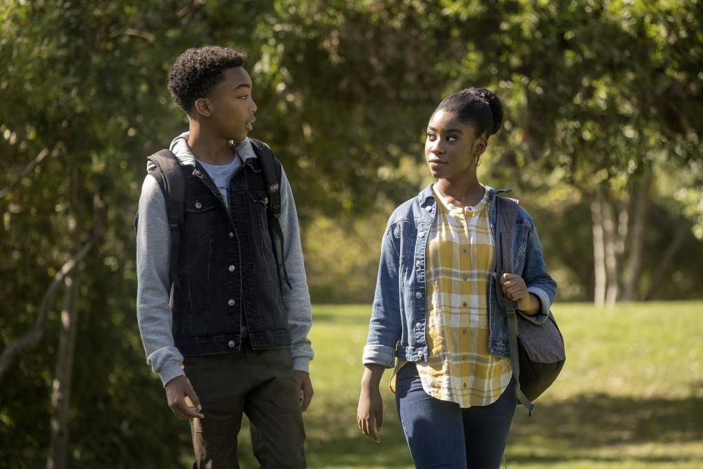 """This image released by NBC shows Asante Blackk as Malik, left, and Lyric Ross as Deja, in a scene from """"This Is Us,"""" airing on Tuesday at 9 p.m. EST. ..."""