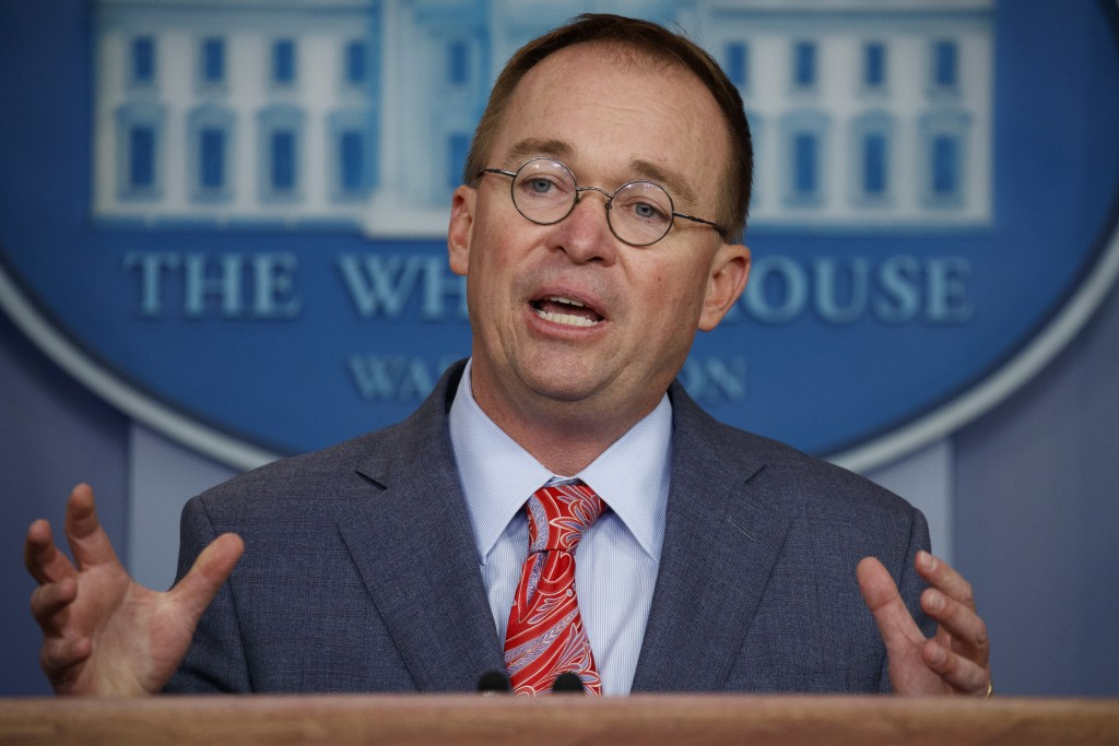 FILE - In this Oct. 17, 2019 file photo, acting White House chief of staff Mick Mulvaney speaks in the White House briefing room in Washington. House ...