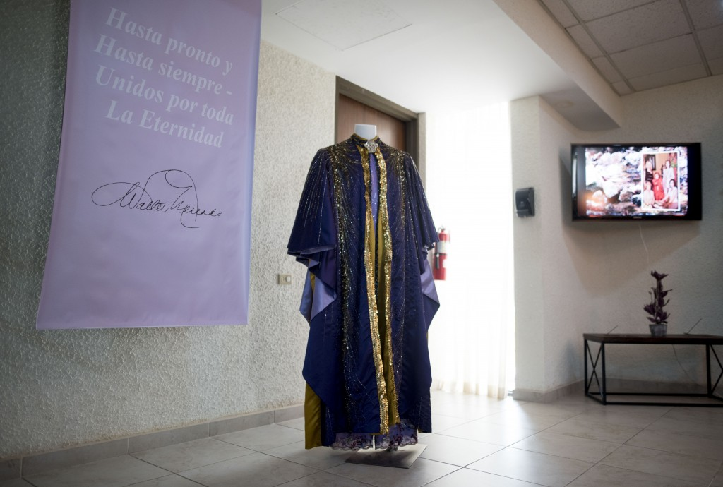 A cape worn by the late television astrologer Walter Mercado is on display during a public wake in the Santurce neighborhood, San Juan, Puerto Rico, W...