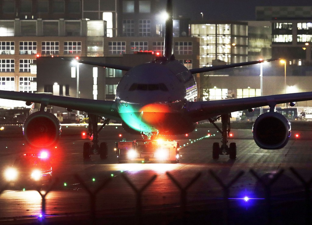A Lufthansa aircraft rolls to a parking position at the airport in Frankfurt, Germany, Thursday, Nov. 7, 2019. The flight attendants' union Ufo is on ...
