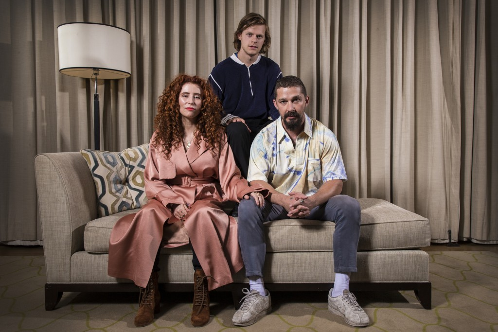 This Oct. 5, 2019 photo shows, from left, director Alma Har'el, actor Lucas Hedges and actor Shia LaBeouf posing for a portrait to promote their film ...