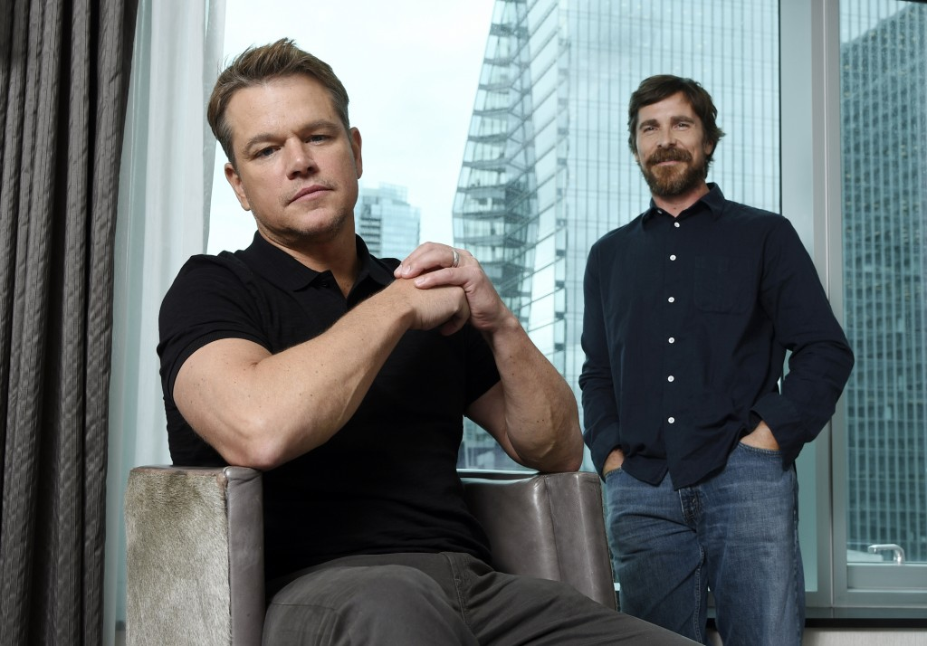 """This Sept. 8, 2019 photo shows co-stars Matt Damon, left, and Christian Bale posing for a portrait to promote their film """"Ford v Ferrari,"""" at the St. ..."""