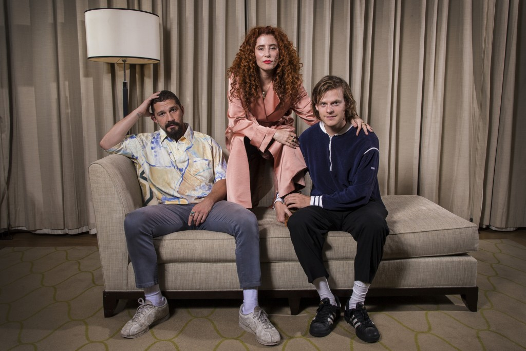 "This Oct. 5, 2019 photo shows actor Shia LaBeouf, from left, director Alma Har'el and actor Lucas Hedges posing for a portrait to promote their film ""..."