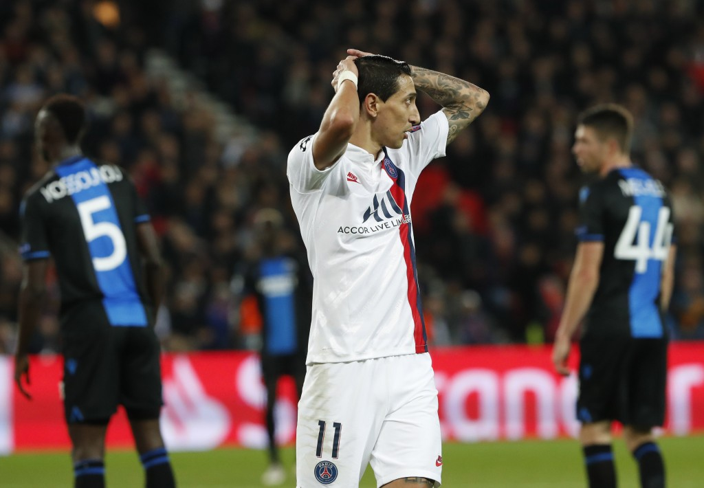PSG's Angel Di Maria reacts during a Champions League group A soccer match between Paris Saint Germain and Club Brugge, at the Parc des Princes stadiu...