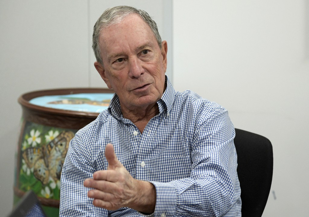 FILE - In this Feb. 8, 2019 file photo, former New York City Mayor Michael Bloomberg answers a question during an interview with The Associated Press ...