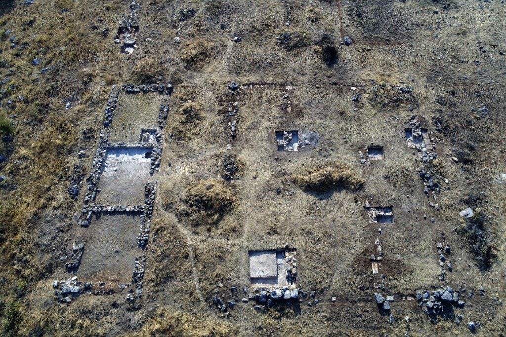 In this undated photo provide by the Greek Culture Ministry on Tuesday, Oct. 5, 2019, the outlines of recently discovered buildings on the Mycenaean c...