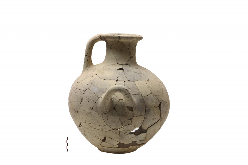 In this undated photo provide by the Greek Culture Ministry on Tuesday, Oct. 5, 2019, a smashed pottery water jar found in the Mycenaean citadel of Gl...