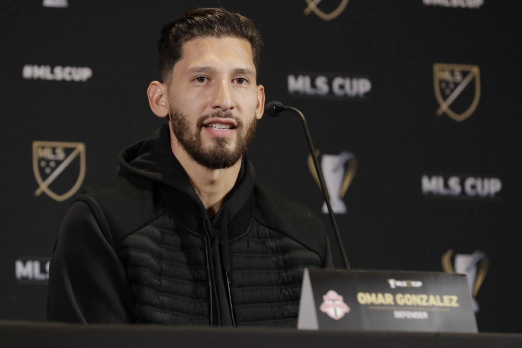 Toronto FC defender Omar Gonzalez talks to reporters Thursday, Nov. 7, 2019, during a news conference in Seattle. Toronto FC is scheduled to face the ...